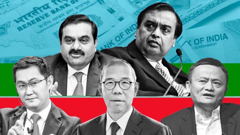Hàng trên (từ trái qua): Gautam Adani và Mukesh Ambani. Hàng dưới (từ trái qua): Ma Huateng, Zhong Shanshan, và Jack Ma - Ảnh: FT.