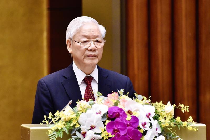 Tổng Bí thư Nguyễn Phú Trọng phát biểu tại hội nghị - Ảnh: VGP/Nhật Bắc