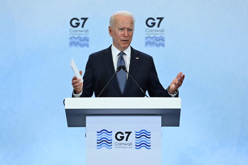 Tổng thống Mỹ Joe Biden phát biển tại ngày cuối của hội nghị thượng đỉnh G7 ở Cornwall, Anh, ngày 13/6 - Ảnh: Getty/Bloomberg.