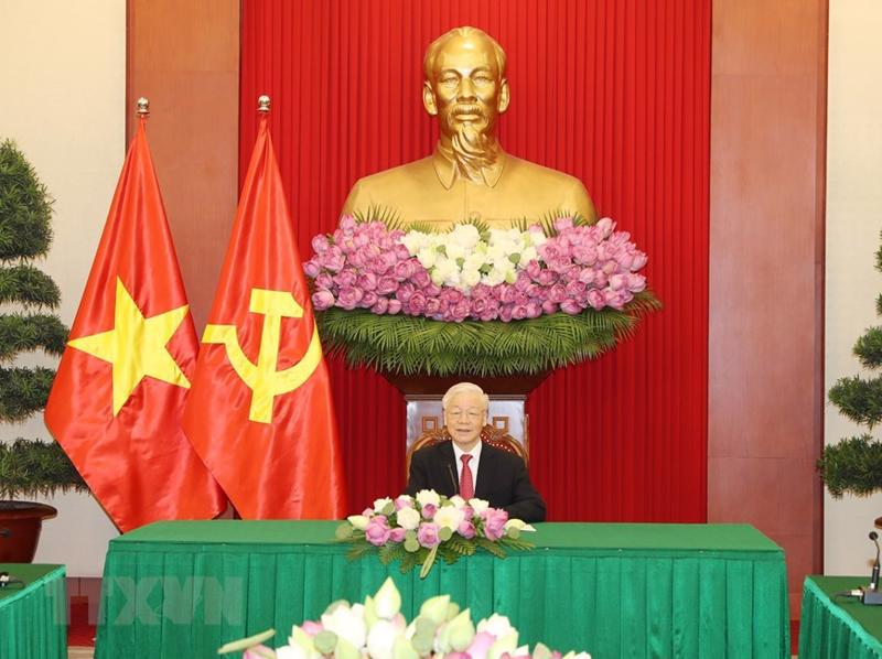 Tổng Bí thư Nguyễn Phú Trọng tại cuộc điện đàm - Ảnh: TTXVN