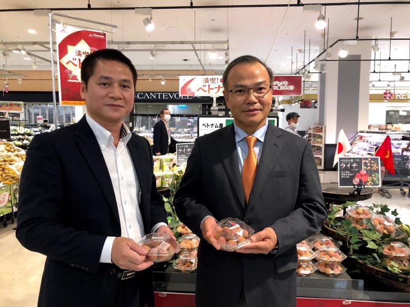 Đại sứ Vũ Hồng Nam (phải) và Tham tán Thương mại Việt Nam tại Nhật Bản Tạ Đức Minh (trái) trong sự kiện quảng bá trái vải Việt Nam tại Nhật Bản