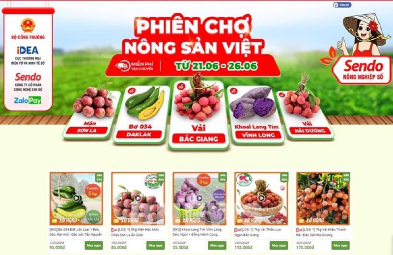 """""""Phiên chợ nông sản Việt"""" sẽ được diễn ra trên sàn thương mại điện tử Sendo từ ngày 21/6 đến 26/6."""