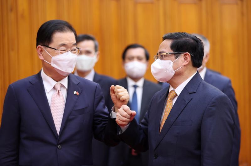 Thủ tướng Phạm Minh Chính (phải) và Bộ trưởng Ngoại giao Hàn Quốc Chung Eui Yong - Ảnh: TTXVN.