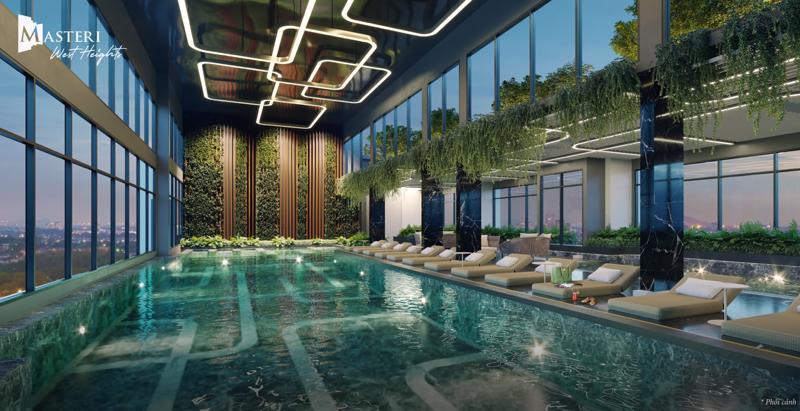 Bể bơi trong nhà - 1 trong 22 tiện ích đặc quyền của cư dân Masteri West Heights.