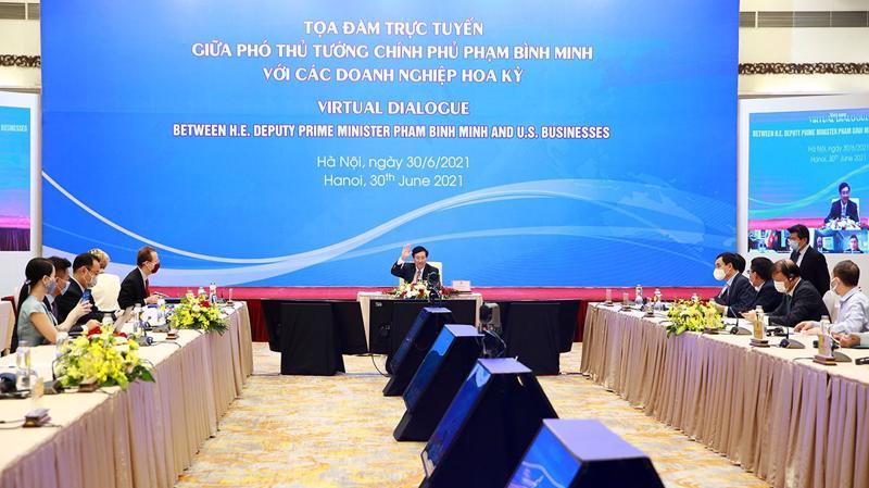 Phó Thủ tướng Phạm Bình Minh chủ trì Tọa đàm trực tuyến với cộng đồng doanh nghiệp Hoa Kỳ sáng 30/6.
