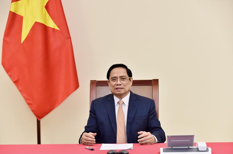 Thủ tướng Phạm Minh Chính tại cuộc điện đàm - Ảnh: Bộ Ngoại giao