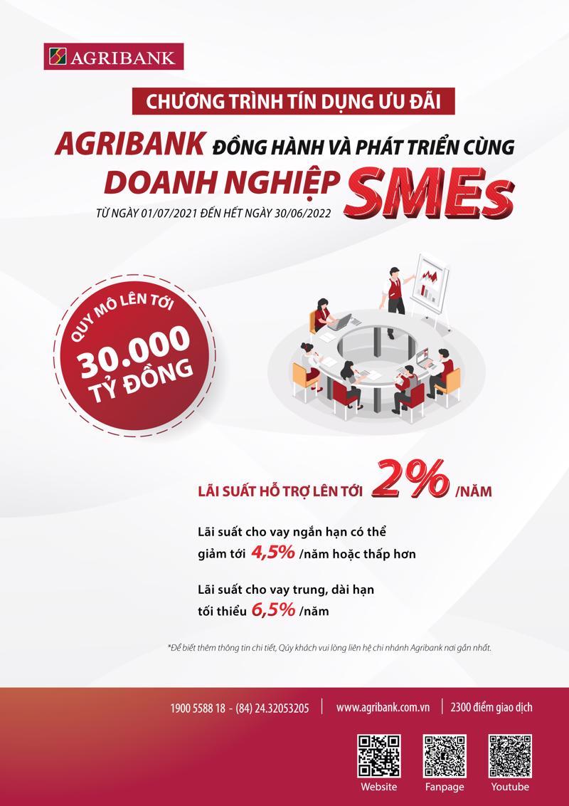 Chương trình Agribank đồng hành và phát triển cùng doanh nghiệp SMEs kéo dài đến hết ngày 30/6/2022 hoặc đến khi hết quy mô của chương trình và được áp dụng rộng rãi tại 2.300 điểm giao dịch của Agribank trên toàn quốc.