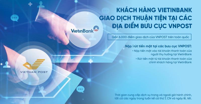 Nhờ kết nối công nghệ hiện đại giữa VietinBank và VNPost, giao dịch sẽ được ghi nhận tức thời vào tài khoản thanh toán của người nhận tiền tại VietinBank.