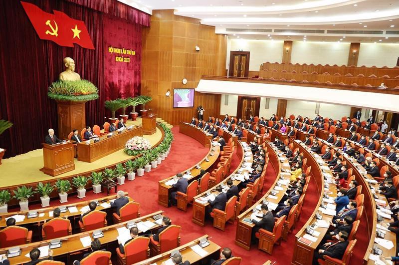 Hội nghị lần thứ ba Ban Chấp hành Trung ương Đảng khoá XIII đã diễn ra thành công tốt đẹp - Ảnh: TTXVN.
