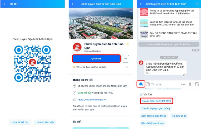 """Tra cứu điểm thi dễ dàng trên trang Zalo """"Chính quyền điện tử tỉnh Bình Định"""""""