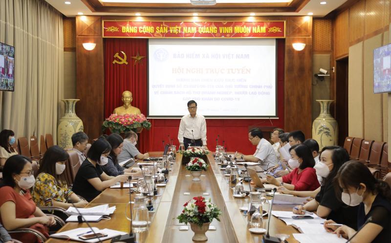 Phó Tổng Giám đốc Bảo hiểm xã hội Việt Nam Trần Đình Liệu phát biểu chỉ đạo tại hội nghị. Ảnh - BHXH Việt Nam.