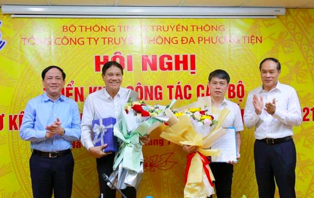 Ông Nguyễn Ngọc Bảo (thứ 3 từ trái sang) được bổ nhiệm giữ chức vụ quyền Tổng giám đốc Tổng Công ty VTC, có hiệu lực từ ngày 9/7/2021.