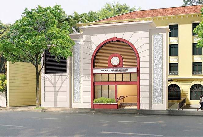 Phối cảnh một cửa lên của nhà ga C9 tuyến metro số 2 Hà Nội trên đường Đinh Tiên Hoàng.