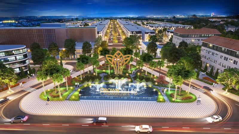 Phối cảnh khu đô thị Thái Hưng Crown Villas toạ lạc ở vị trí trung tâm thành phố Thái Nguyên.