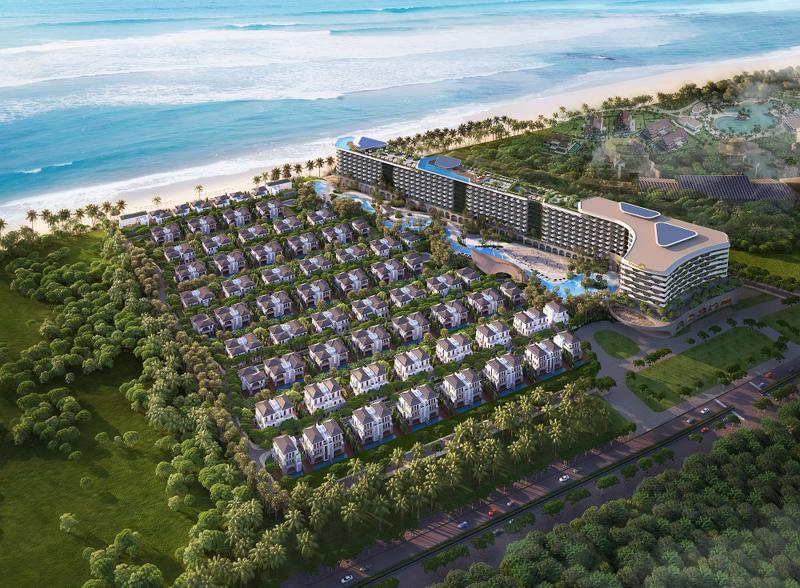 Phối cảnh Grand Mercure Hoi An sở hữu vị trí đắc địa ôm trọn biển An Bàng.