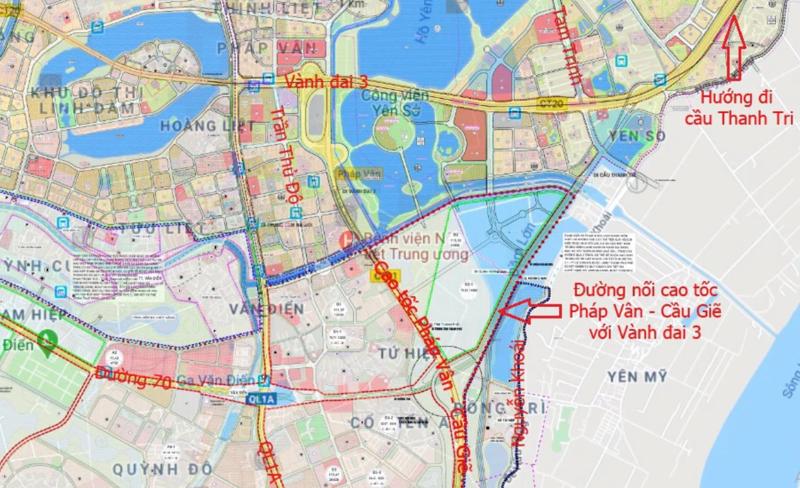 Đường nối cao tốc Pháp Vân - Cầu Giẽ với Vành đai 3 theo quy hoạch.