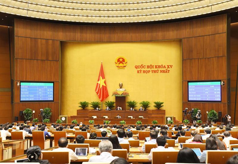 Quốc hội biểu quyết thông qua các Nghị quyết sáng ngày 21/7 - Ảnh: Quochoi.vn