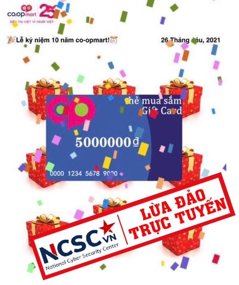 Một trong những thủ đoạn tặng thẻ mua sắm giả mạo Co.opmart 5000000đ.