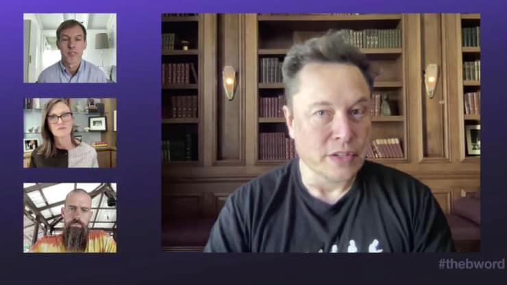 Elon Musk tại hội nghị trực tuyến về tiền ảo B Word - Ảnh: B Word.