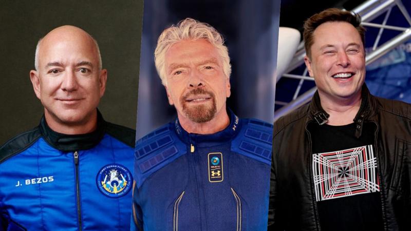 Từ trái sang phải: tỷ phú Jeff Bezos, Richard Branson và Elon Musk - Ảnh: CNN/Getty Images