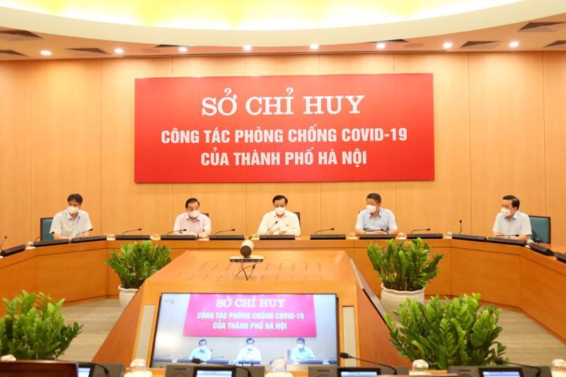 Toàn cảnh cuộc họp trực tuyến với sở chỉ huy các sở, ngành, quận, huyện, thị xã ngày 25/7.