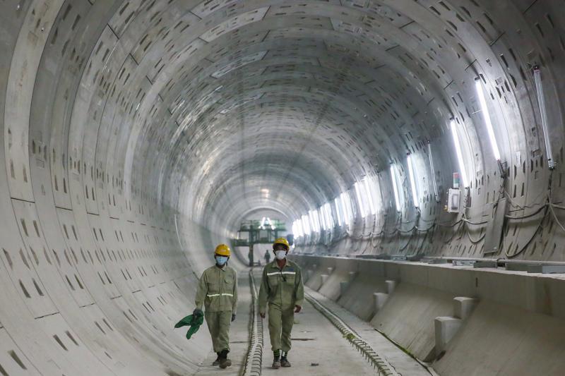 Ga ngầm Chợ Bến Thành - Nhà hát Thành phố thuộc gói thầu CP1A dự án metro số 1 đang đi vào giai đoàn hoàn thành