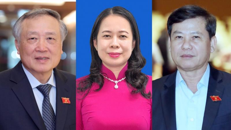 Từ trái qua phải: ông Nguyễn Hoà Bình, bà Võ Thị Ánh Xuân và ông Lê Minh Trí - Ảnh: Quochoi.vn