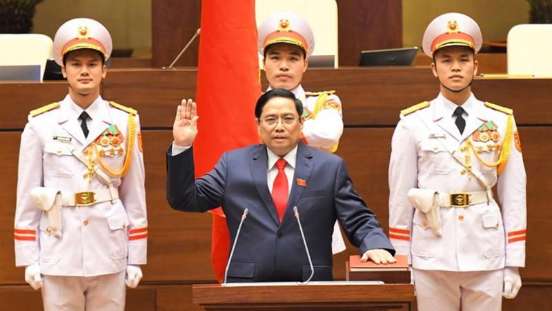 Thủ tướng Phạm Minh Chính tuyên thệ nhậm chức - Ảnh: VOV