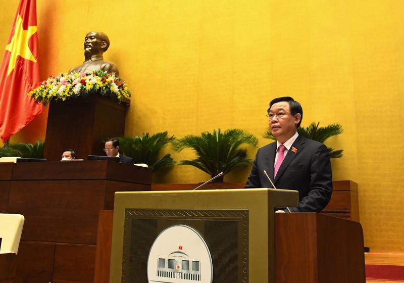 Chủ tịch Quốc hội Vương Đình Huệ phát biểu tri ân Ngày Thương binh, liệt sỹ 27/7 - Ảnh: Quochoi.vn