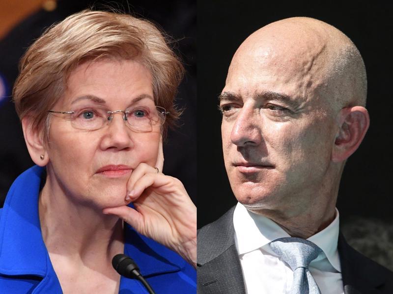 Thượng nghị sĩ Elizabeth Warren (ảnh trái) và tỷ phú Jeff Bezos - Ảnh: Getty Images