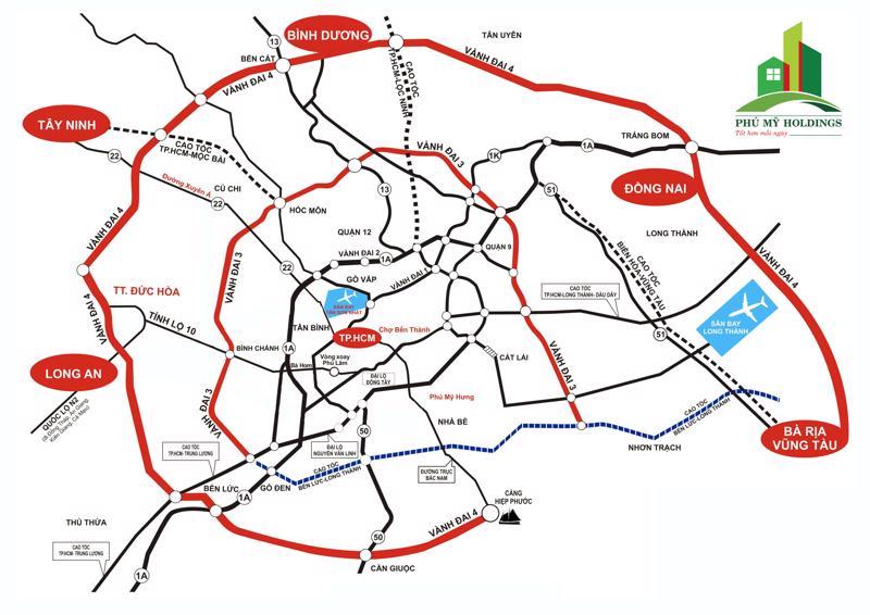 Đường vành Đai 4 có tổng chiều dài 197,6 km, đi qua 5 tỉnh thành là: Bà Rịa-Vũng Tàu, Đồng Nai, Bình Dương, TP. HCM, Long An.