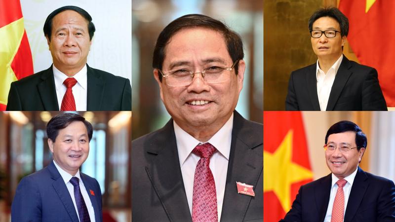 Thủ tướng Phạm Minh Chính (ảnh giữa) và 4 Phó Thủ tướng nhiệm kỳ 2021-2026 - Ảnh: VGP.
