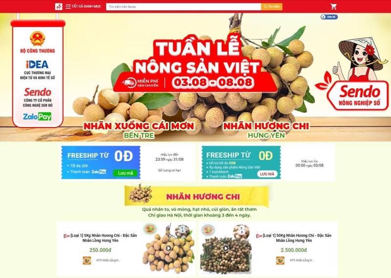 Nhãn lồng Hương Chi (Hưng Yên) được bán trên sàn Sendo từ ngày 3/8 đến 8/8/2021