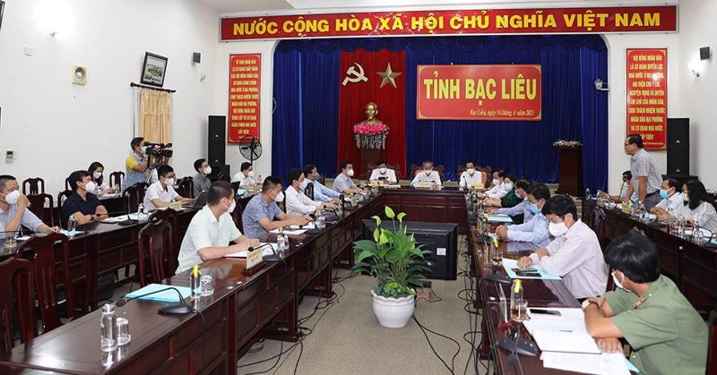 Quang cảnh buổi làm việc giữa Đoàn công tác Bộ Y tế với tỉnh Bạc Liêu