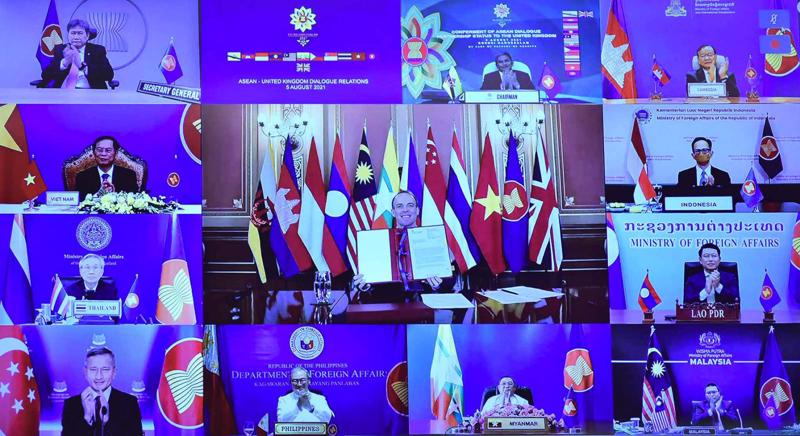 Lễ trao quy chếĐối tác đối thoại đầy đủ của ASEAN cho Vương quốc Anh - Ảnh: Bộ Ngoại giao