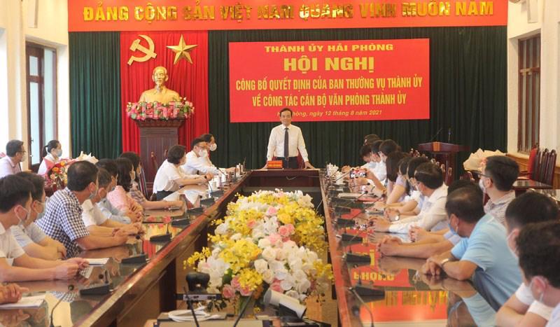 Bí Thư thành ủy Hải Phòng Trần Lưu Quang phát biểu tại hôi nghị