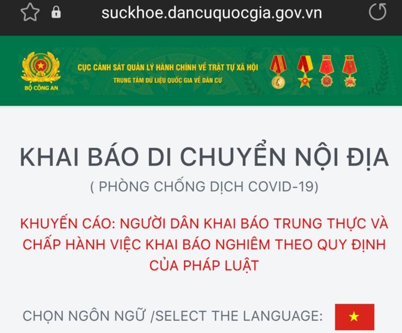 Công dân thực hiện đăng ký khai báo trung thực qua website suckhoe.dancuquocgia.gov.vn