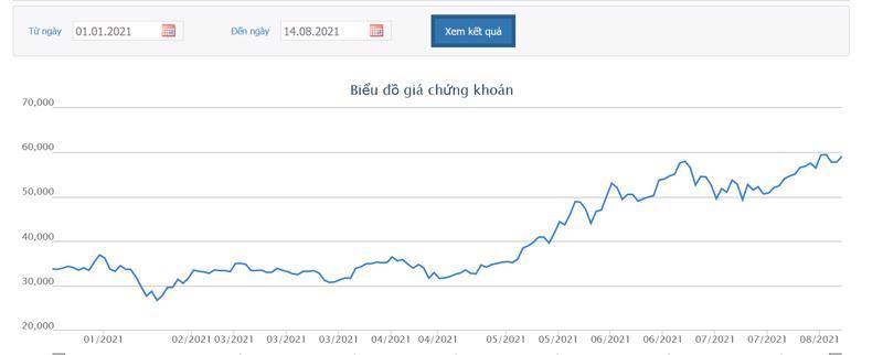 Biểu đồ giá cổ phiếu SSI từ đầu năm 2021 đến nay.