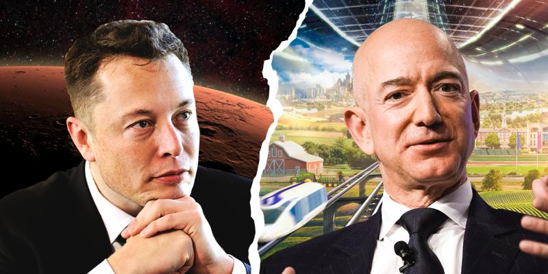 Tỷ phú Elon Musk (trái) và tỷ phú Jeff Bezos đang trong cuộc chiến liên quan tới hợp đồng với NASA nhằm thực hiện sứ mệnh đưa người lên Mặt Trăng - Ảnh: BI