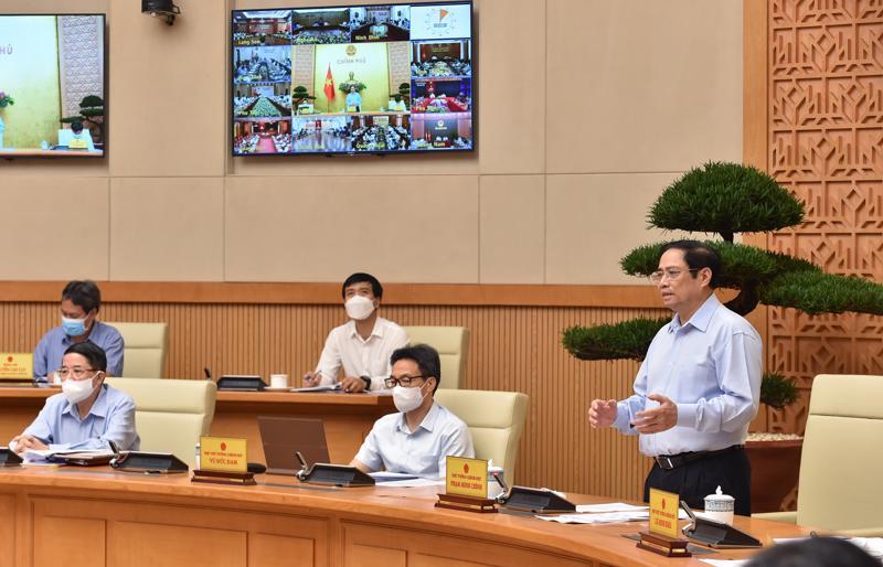 Thủ tướng Phạm Minh Chính phát biểu kết luận hội nghị sáng 19/8 - VGP/Nhật Bắc