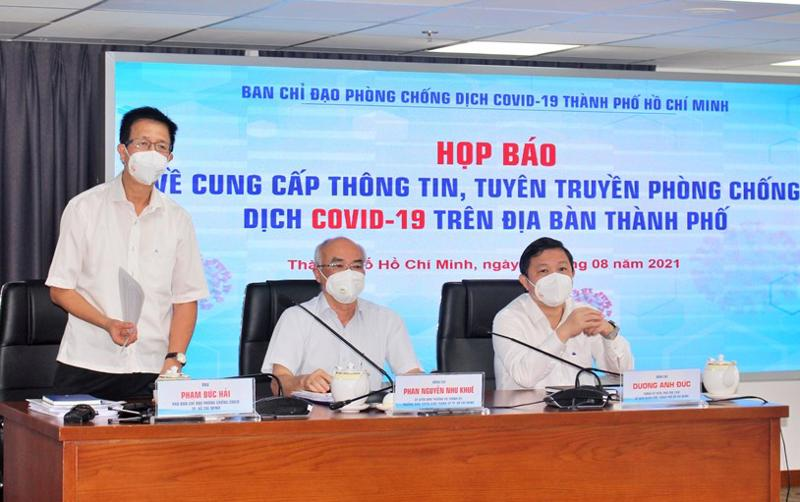 Phó trưởng ban chỉ đạo Phòng chống dịch Covid-19 TP.HCM Phạm Đức Hải tại cuộc họp.
