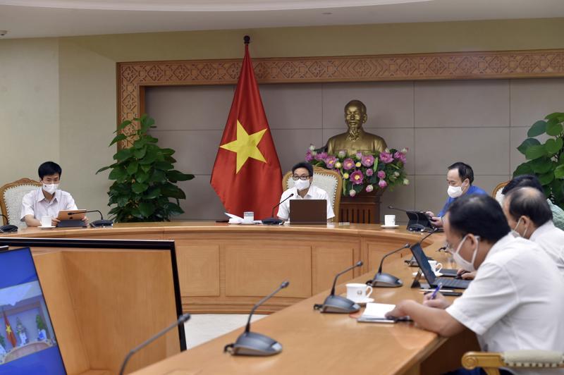 Phó Thủ tướng Vũ Đức Đam dự họp trực tuyến tại Trụ sở Chính phủ - Ảnh - VGP.