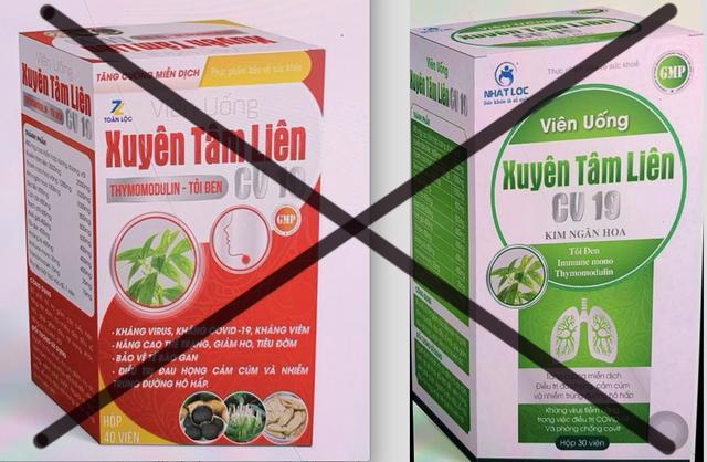 Cục An toàn thực phẩm đã có cảnh báo về 2 sản phẩm Xuyên Tâm Liên giả mạo công dụng phòng chống Covid-19