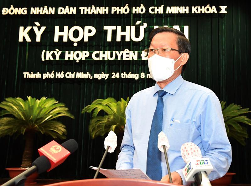 Tân Chủ tịch UBND TP.HCM Phan Văn Mãi phát biểu ngay sau khi nhậm chức (Ảnh VGP)