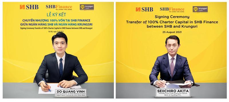 Ông Đỗ Quang Vinh - Giám đốc Khối Ngân hàng số, Phó Giám đốc khối Ngân hàng bán lẻ SHB, Chủ tịch Hội đồng thành viên SHB Finance (tại Việt Nam) và ông Seiichiro Akita - Chủ tịch kiêm CEO Krungsri (tại Thái Lan) ký thỏa thuận chuyển nhượng 100% vốn SHB Finance.