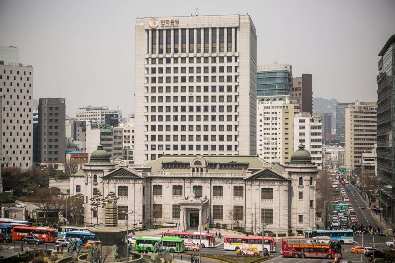 Toà nhà trụ sở Ngân hàng Trung ương Hàn Quốc (BOK) ở Seoul - Ảnh: Bloomberg.