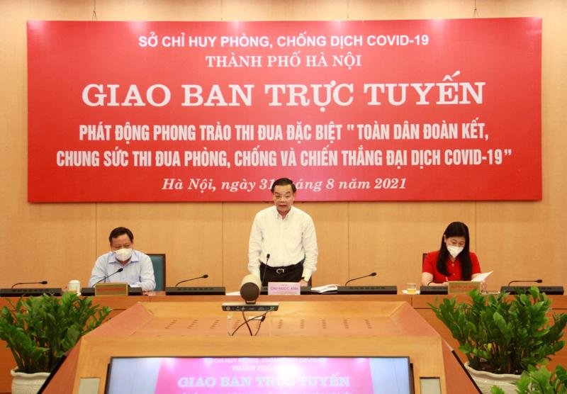 Sở Chỉ huy phòng, chống dịch Covid-19 Thành phố Hà Nội tổ chức giao ban trực tuyến với các xã phường.