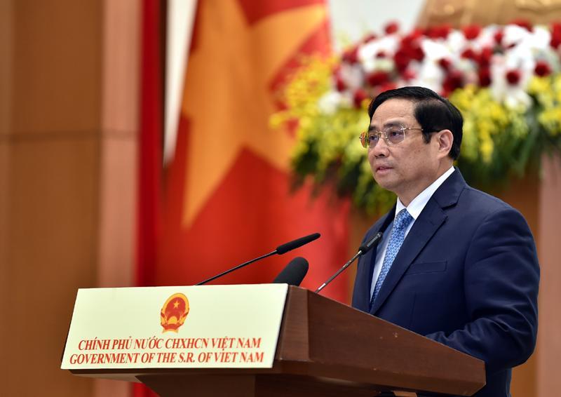 Thủ tướng Chính phủ Phạm Minh Chính phát biểu tại lễ kỷ niệm 76 năm Quốc khánh nước Cộng hòa xã hội chủ nghĩa Việt Nam - Ảnh: VGP/Nhật Bắc