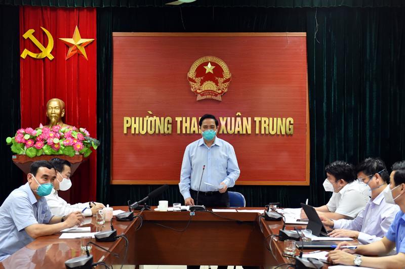 Thủ tướng chủ trì cuộc họp với 579 xã phường của TP. Hà Nội tại trụ sở UBND phường Thanh Xuân Trung, quận Thanh Xuân, Hà Nội - Ảnh: VGP