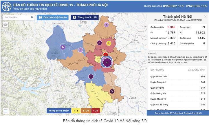 Bản đồ thông tin dịch tễ Covid-19 Hà Nội sáng 3/9.